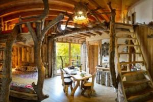 Cabane insolite indoor automne dans la foret des vosges